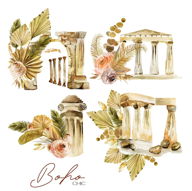 Set of watercolor compositions of antique architectural elements and floral boho bouquets