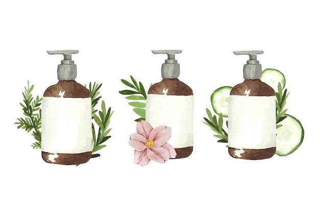 Set of watercolor cosmetic bottles
