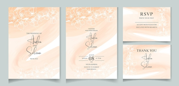 Set of watercolor creamy wedding invitation card template  with beautiful cherry blossom line drawn