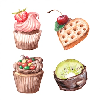 Set of watercolor cupcakes