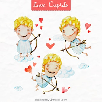 Set of watercolor cupid characters