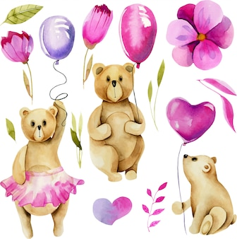 Set of watercolor cute bears with air balloons