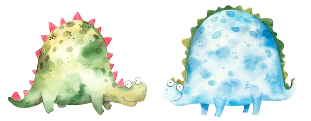 Set of watercolor cute blue and green dinosaurs