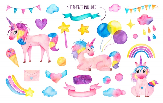 Set of watercolor cute magic unicorns with rainbow, balloons, magic wand