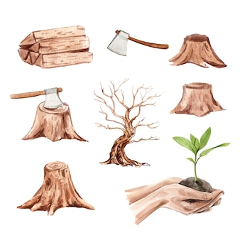 Set of watercolor deforestation, hand-drawn illustration vector