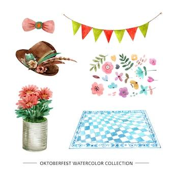 Set of watercolor design mat, flowers, hat illustration