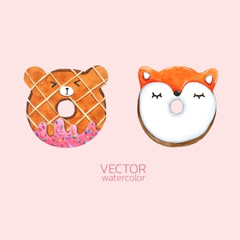 Set of watercolor donuts cute.
