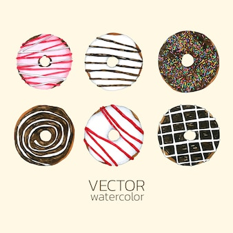 Set of watercolor donuts.