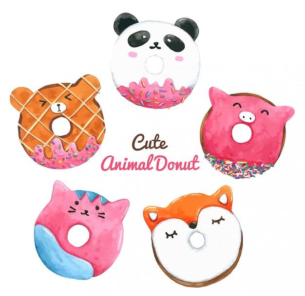 Set of watercolor donuts