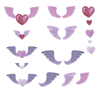 Set of watercolor elements from hearts and wings