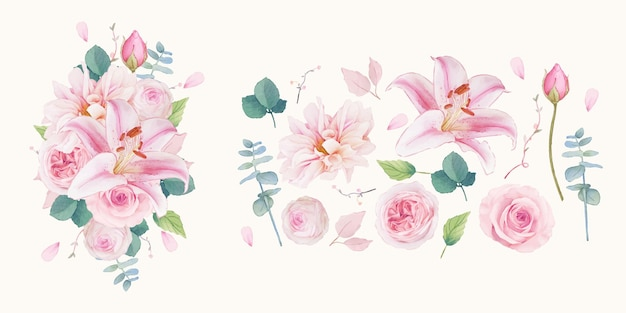 ピンクのバラユリとダリアの水彩要素を設定します