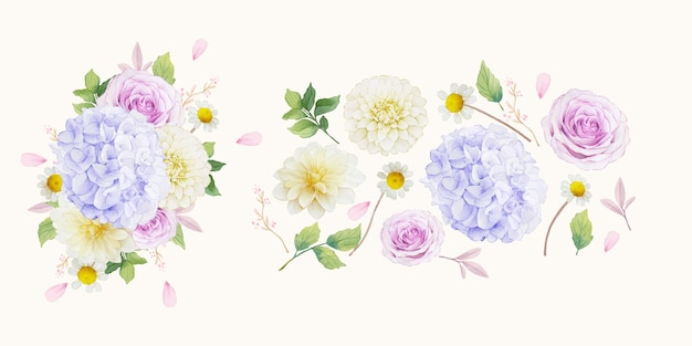 보라색 장미 달리아와 수국 꽃의 수채화 요소 설정