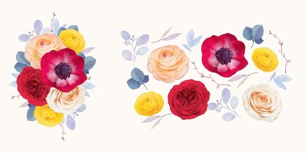 붉은 장미 말미잘과 라넌큘러스 꽃의 수채화 요소 설정