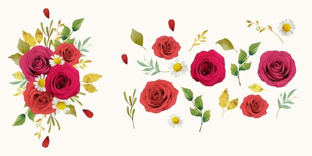 赤いバラの水彩要素を設定します