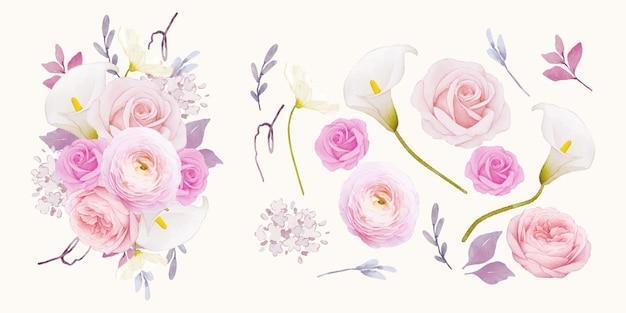 Impostare elementi ad acquerello di giglio rosa rosa e fiore di ranuncolo