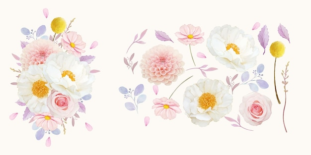 Set watercolor elements of pink roses  dahlia and peony flower