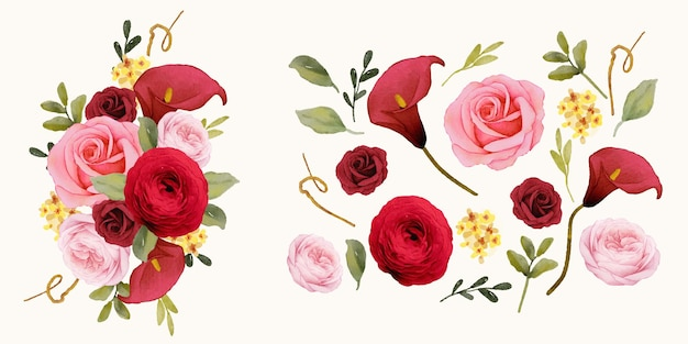 Set watercolor elements of red rose  lily  and ranunculus flower
