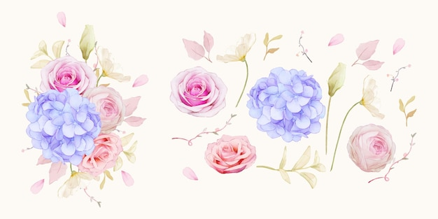 Set watercolor elements of roses and blue hydrangea flower