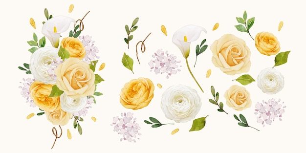 Set watercolor elements of yellow rose  lily  and ranunculus flower