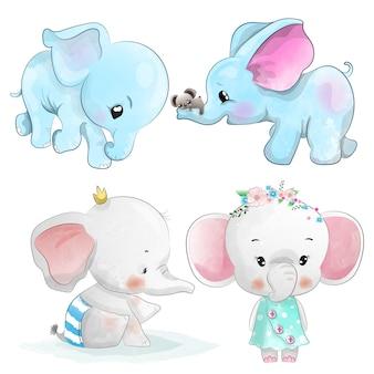 Set of watercolor elephants