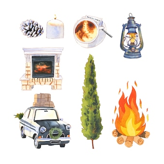 Set of watercolor fireplace, lantern, car background for decorative use.