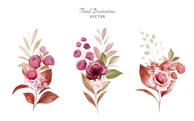 Set of watercolor floral arrangements of burgundy and peach roses and leaves. botanic decoration set