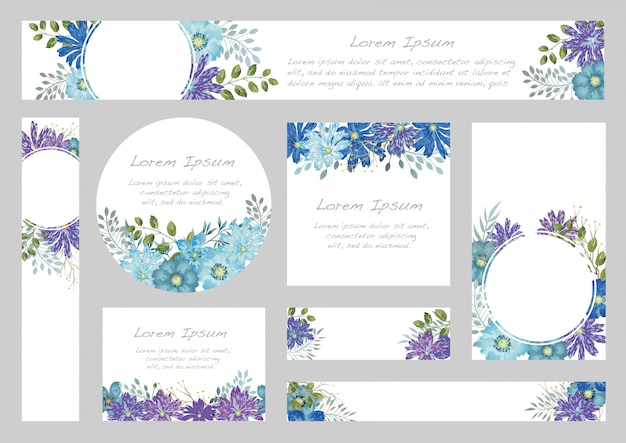 Set of watercolor floral background with text space,  illustration.