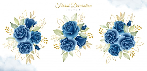 Set of watercolor floral bouquets of navy blue roses and gold leaves