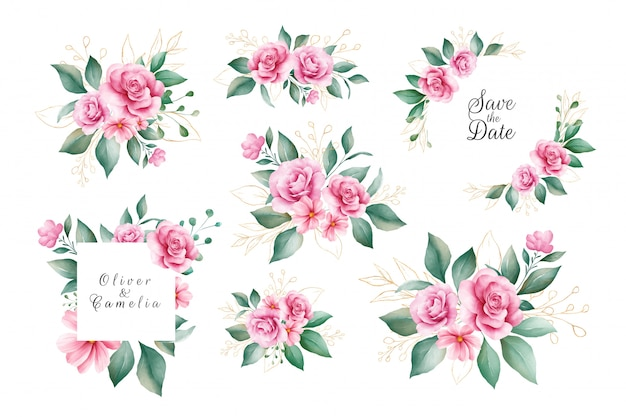 Set of watercolor floral decoration vector of pink and purple rose flowers and gold leaves.