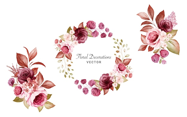 Set of watercolor floral frame and bouquets of burgundy and peach roses and leaves.