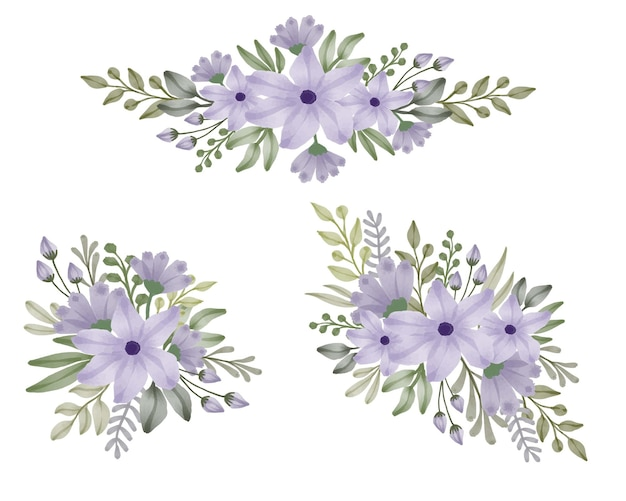 Set of watercolor floral frame bouquets of purple flowers