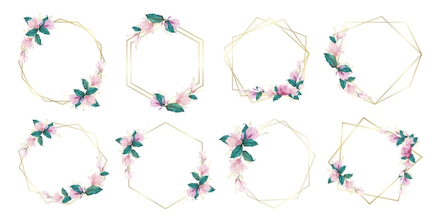 Set of watercolor floral frame for wedding monogram logo and branding logo design