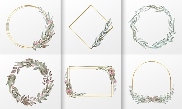 Set of watercolor floral frame