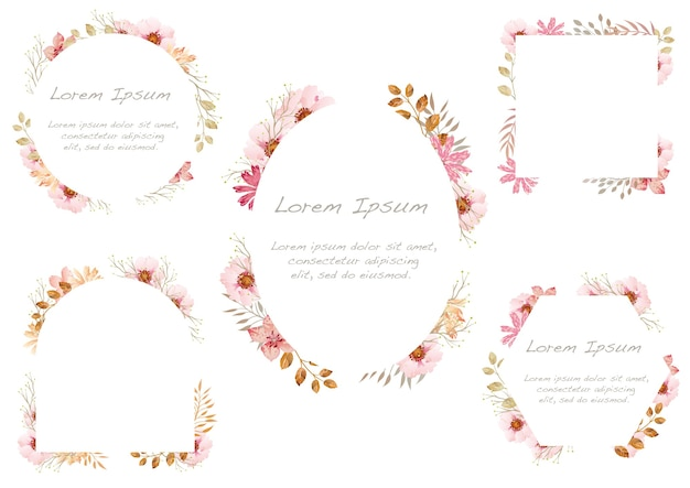 Set of watercolor floral frames isolated on a white background. .