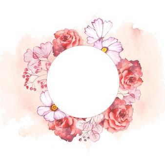 Set of watercolor floral frames