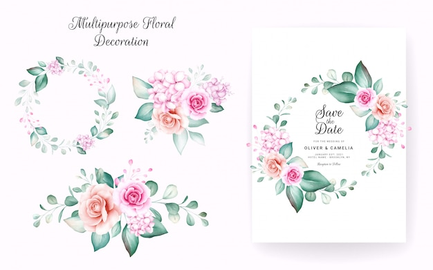 Set of watercolor floral wreath and bouquets. botanic decoration illustration of peach roses, leaves, branches.