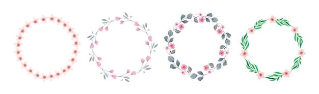 Set of watercolor floral wreaths