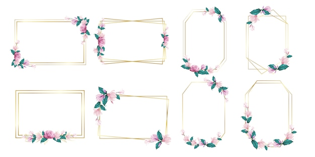 Set of watercolor flower frame for wedding monogram logo and branding logo design