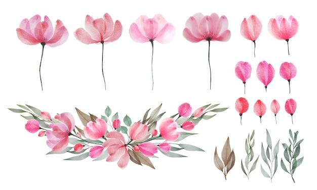 Set di acquerelli di fiori e foglie. floreale dipinto con acquerello