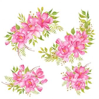 Set of watercolor flower magnolia pink bouquet