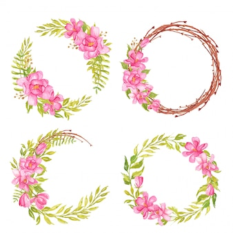 Set of watercolor flower magnolia pink and greenery leaf wreath and frame round