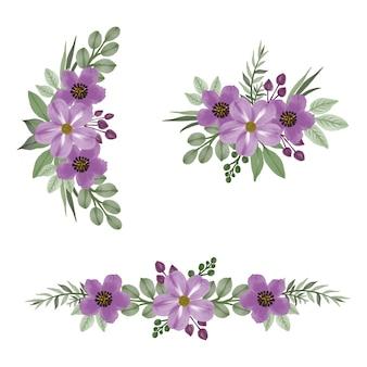 Набор акварельных цветов фиолетового цвета для свадебного приглашения