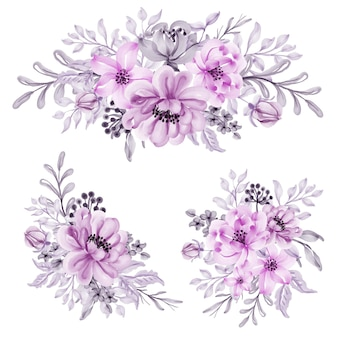 Set of watercolor flower pink pastel arrangement