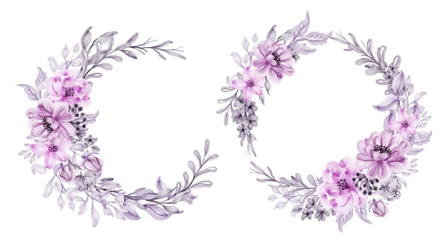 Set of watercolor flower wreath pink pastel with leaf