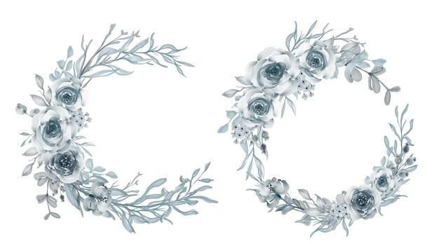Set of watercolor flower wreath rose steel blue