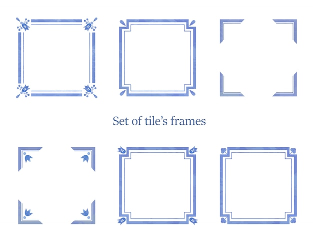 Set of watercolor frames for tiles decorations