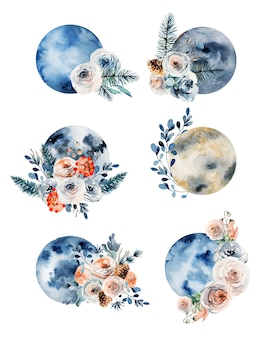 Set of watercolor full moon in vintage flower decorations