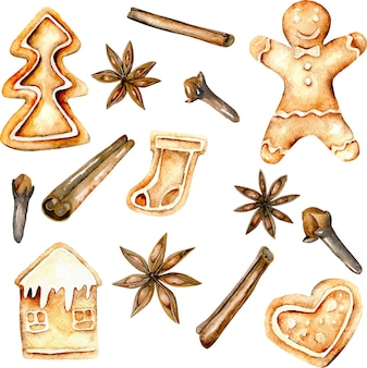 Set of watercolor gingerbreads and spices