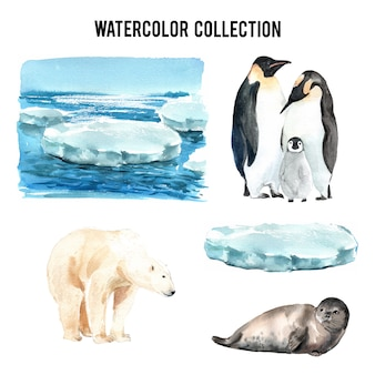 Set of watercolor global warming, hand-drawn illustration of elements isolated