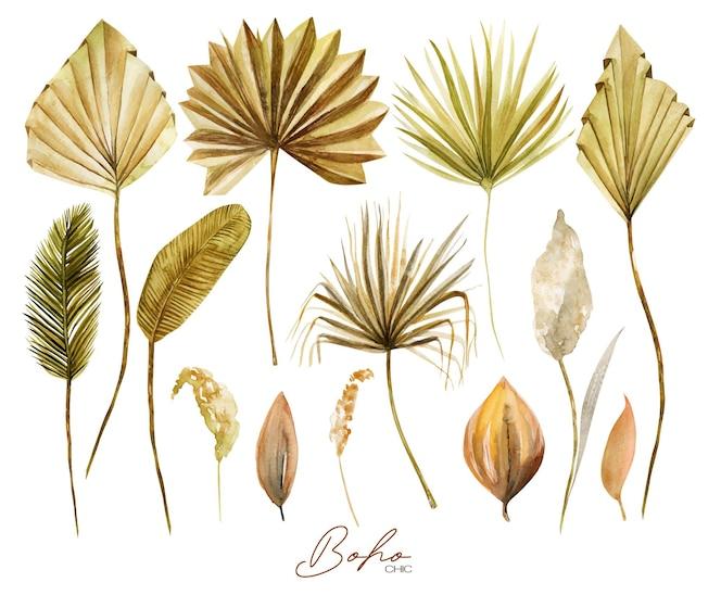 Set di foglie di palma a ventaglio essiccate dorate e verdi ad acquerello, erba di pampa e piante esotiche